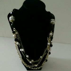 Bold statement 5 layer goldtone necklace 32""